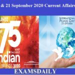 20th & 21st September 2020 Current Affairs