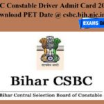CSBC Constable Driver Admit Card 2020 – Download PET Date @ csbc.bih.nic.in