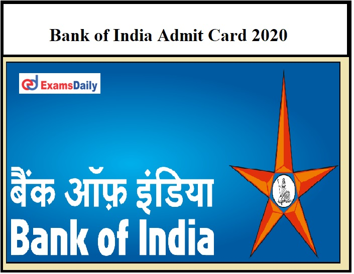Bank of India Security Officer Admit Card 2020 – Check Fire Officer Interview Date Details Here!!!